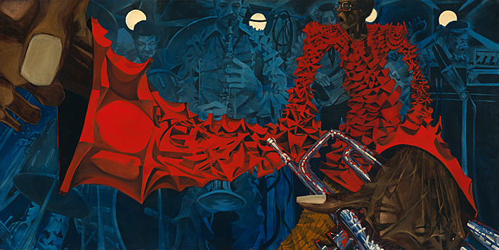 Stylized oil painting of Miles Davis in red shirt holding trumpet with band in blue background.
